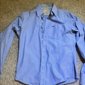 Hollister blue and white stripe button down